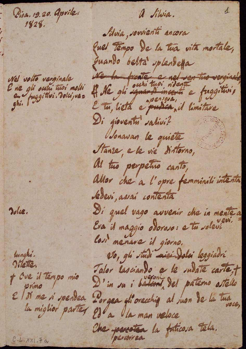 Leopardi E La Musica Leopardi, A Silvia, 1/...